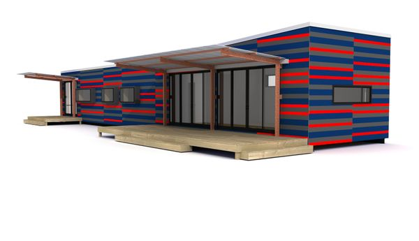 Lap siding-blue and red