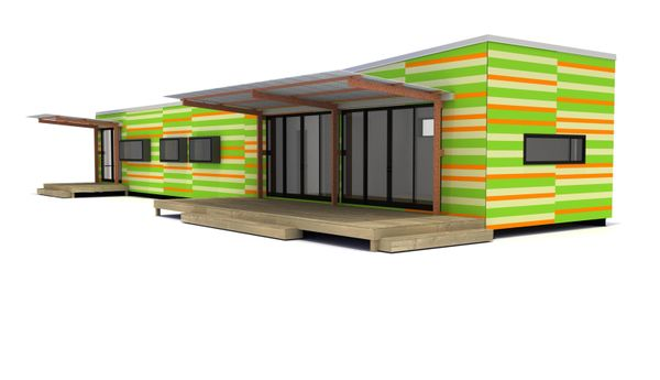 Lap siding-orange and green