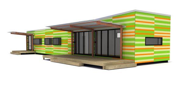 Lap siding-orange and green